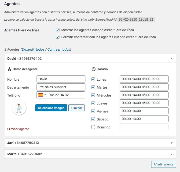 Complemente Agentes de soporte para el Plugin de WordPress Join.chat